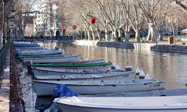 ANNECY, FRANCE : December 25, 2011 : The canal ringed by the bea Royalty Free Stock Photography