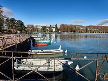 Shot of the lake of Annecy and the mountains around stock images