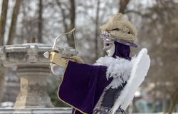 Cupid Disguised Person - Annecy Venetian Carnival 2013 Royalty Free Stock Photography