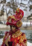 Disguised Person - Annecy Venetian Carnival 2013. Annecy, France, February 24, 2013:  Portrait of a disguised person posing in Annecy, France, during a Venetian Royalty Free Stock Image