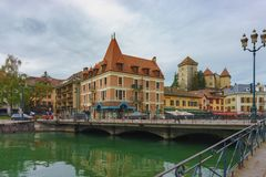 View of the Annecy castle from the river. Royalty Free Stock Images