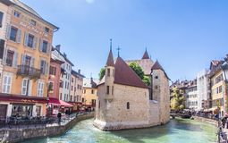 Annecy, France - May 12, 2019: Picturesque Alpine town in southeastern France, aka the`Pearl of French Alps`  or  `Venice of the A. Lps`, located between lake royalty free stock photo