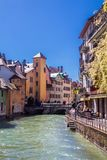 Annecy, France - May 12, 2019: Picturesque Alpine town in southeastern France, aka the`Pearl of French Alps`  or  `Venice of the A. Lps`, located between lake royalty free stock image