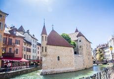 Annecy, France - May 12, 2019: Picturesque Alpine town in southeastern France, aka the`Pearl of French Alps`  or  `Venice of the A. Lps`, located between lake stock image