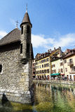 Annecy, France. Palais de lIsle is a castle in the center of the Thiou canal in Annecy, France, built in 1132. The Palais de lIle was classified as a Historical Royalty Free Stock Photos