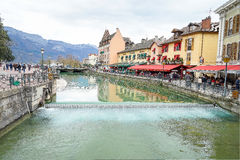 Annecy, France. The Thiou Canal with old restaurants at medieval town Annecy, France Stock Image