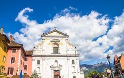 Annecy, Frankrijk - Mei 12, 2019: Schilderachtige Alpiene stad in zuidoostelijk Frankrijk, aka de 'Parel van Frans Alpen of 'Vene stock foto's