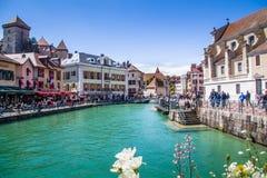 Annecy, Frankrijk, Schilderachtige Alpiene stad in zuidoostelijk Frankrijk, aka de ?Parel van Frans Alpen of ?Veneti? van de Alpe royalty-vrije stock afbeelding