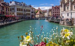 Annecy, Frankrijk, Schilderachtige Alpiene stad in zuidoostelijk Frankrijk, aka de ?Parel van Frans Alpen of ?Veneti? van de Alpe royalty-vrije stock fotografie