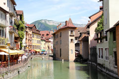 Annecy, Haute Savoie, France. View of a canal in the city of Annecy, Haute Savoie, France Stock Photo