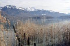 Annecy jeziora krajobraz w Francja Obrazy Royalty Free