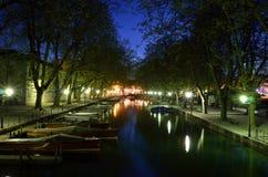 Annecy kanal Royaltyfri Fotografi