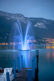 Annecy lake. Night photo of  Annecy lake from the quay, city in French Alps Stock Photos