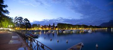 Annecy lake. Night photo of  Annecy lake from the quay, city in French Alps Stock Image