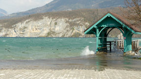 Annecy lake, boat landing stage in Saint-Jorioz Stock Images