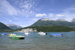 Annecy lake with boats Stock Images