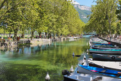 Annecy lake and boats Royalty Free Stock Image