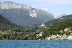 Annecy lake, east coast,  menthon and roc de chere Stock Photo
