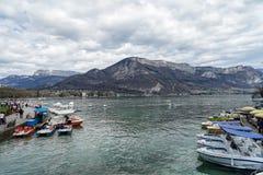 Annecy lake, Frankrike Arkivfoton
