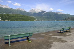 Annecy lake and mountains Stock Image