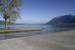 Annecy lake and mountains Stock Photos