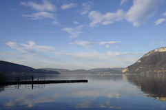 Annecy lake and mountains Royalty Free Stock Photo