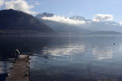 Annecy lake and mountains Royalty Free Stock Image