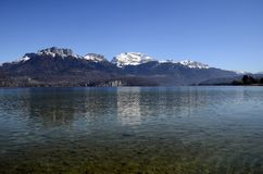 Annecy lake and mountains royalty free stock photography