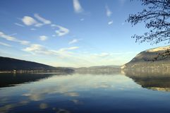 Annecy lake and mountains Stock Photo