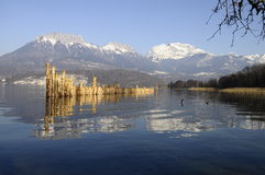Annecy lake and mountains of Tournette Royalty Free Stock Images