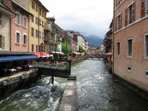 Annecy old town and canal, Savoy, France. Annecy medieval old town and Thiou canal, Savoy, France Stock Images