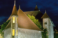Annecy medieval town : Roofs of Old prison by night, France Royalty Free Stock Photography