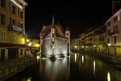 Annecy by night. Annecy,France,February 23rd 2011:Night image of the Palace of the Isle in Annecy, France.This palace was built in the centre of the Thiou canal Royalty Free Stock Photos