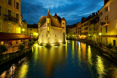 Annecy at night. Wonderful view of night Annecy and Palais de l'Isle. GPS information is in the file Royalty Free Stock Images
