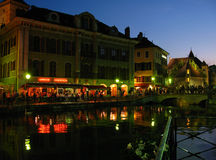 Annecy during night, France Stock Photography
