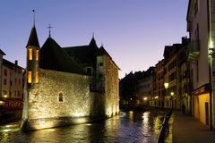 Annecy old center at night Royalty Free Stock Photography