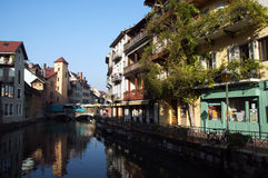Annecy old town on market day Royalty Free Stock Photo