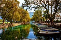 Annecy park z łodziami Obraz Royalty Free