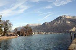 Annecy Seelandschaft in Frankreich Stockfotografie