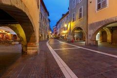 Annecy stara miasto noc fotografia royalty free