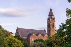 Annedal教会在有五颜六色的叶子的哥德堡,瑞典 库存照片