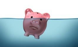 Annegando nel debito Fotografia Stock