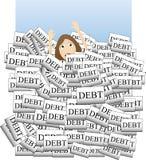 Annegando nel debito Fotografia Stock Libera da Diritti