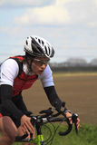 Annegreet Moree cycling the course Stock Photography