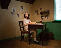 Anne Frank in the museum of Madame Tussauds. Annelies Marie Frank was a German-born diarist. One of the most discussed Jewish victims of the Holocaust. She is in royalty free stock images