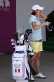 Annelise Caudal at golf Evian Masters 2012. EVIAN MASTERS, EVIAN, FRANCE, JULY 27 , 2012 Anne Lise Caudal (FRA) at The Evian masters golf tournament, LPGA tour royalty free stock photo