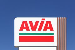 AVIA sign on a panel. Annemasse, France - August 14, 2016: AVIA sign on a panel. AVIA International company is represented by more than 2900 petrol stations in Stock Images