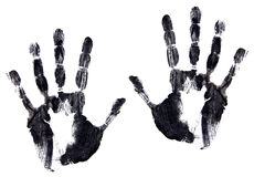 Annerisca l'immagine dell'inchiostro di un accoppiamento dei handprints immagini stock libere da diritti