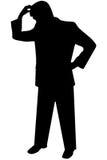 Annerisca l'uomo della siluetta su bianco Fotografie Stock Libere da Diritti