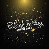 Annerisca venerdì Insegna con i coriandoli realistici dell'oro Fondo di vendita di Black Friday Fotografia Stock